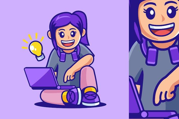 Teenager-Mädchen sitzt mit Laptop