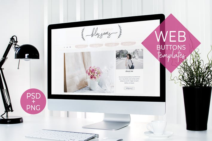Thumbnail for Webdesign buttons and blog template