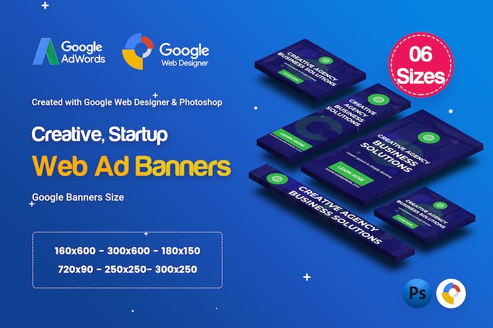 Thumbnail for C58 - Creative, Startup HTML5 Ad - GWD & PSD