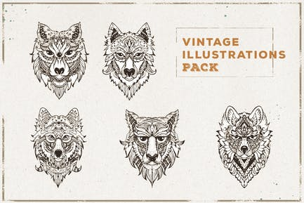 Vintage Wolf Illustration Pack