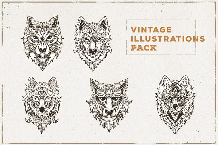 Cover Image For Vintage Wolf Illustration Pack