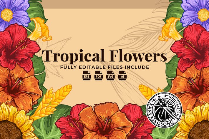 Thumbnail for Tropical Flowers Illustration Pack
