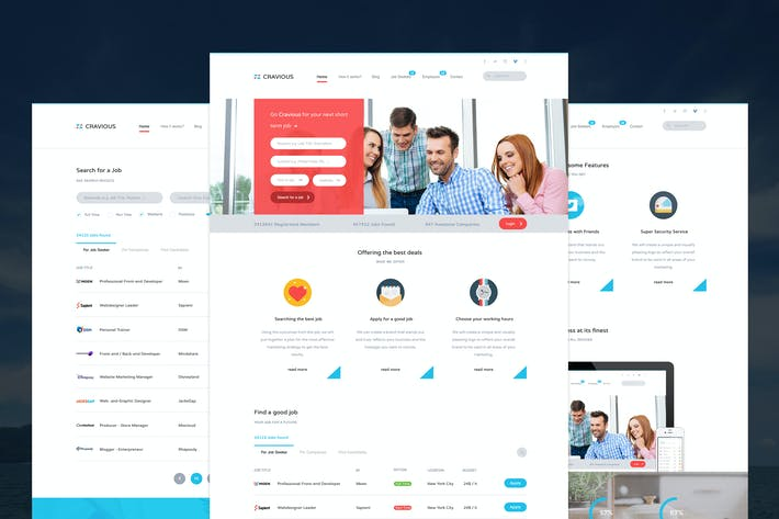 Thumbnail for Cravious - Job Portal PSD Template