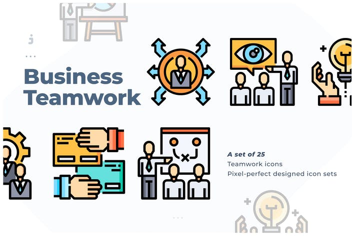 Thumbnail for 25 Business & Teamwork Icon set