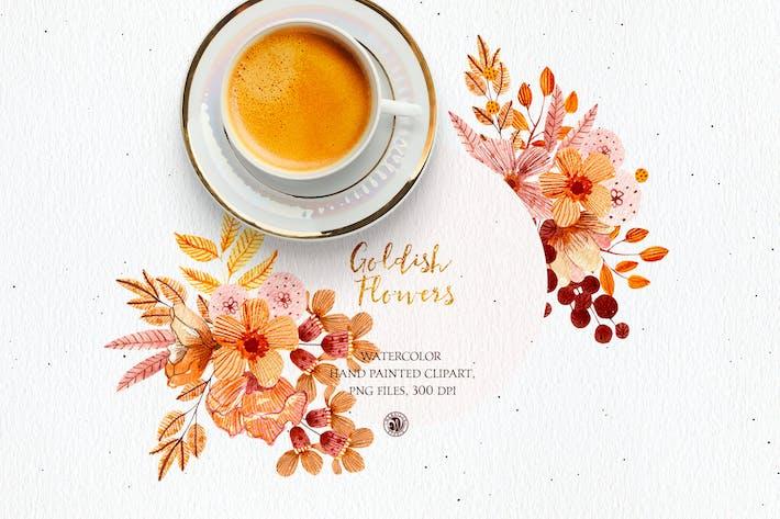 Thumbnail for Goldish Flowers  - watercolor set