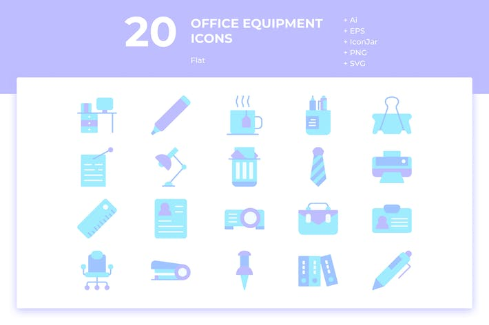 Thumbnail for 20 Office Equipment Icons (Flat)