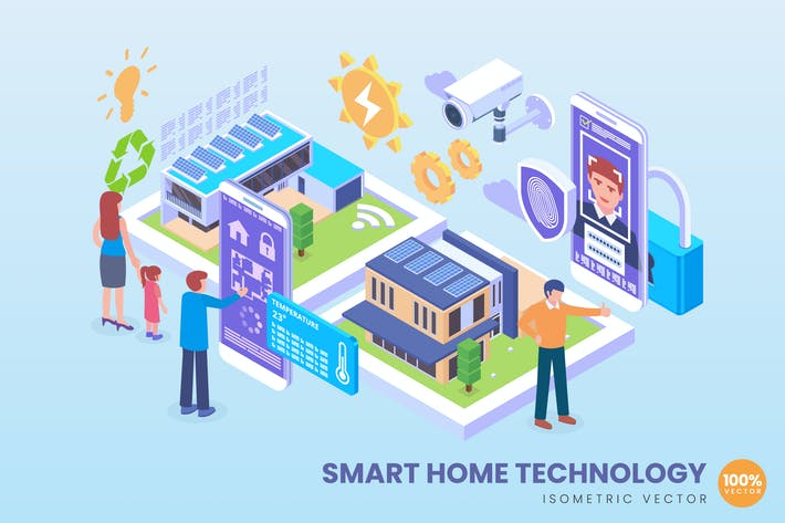 Thumbnail for Isometric Smart Home Technology Concept