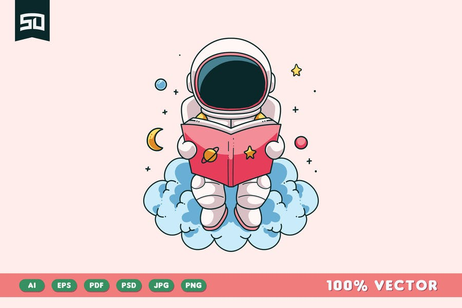 Design d'illustration d'astronaute mignon