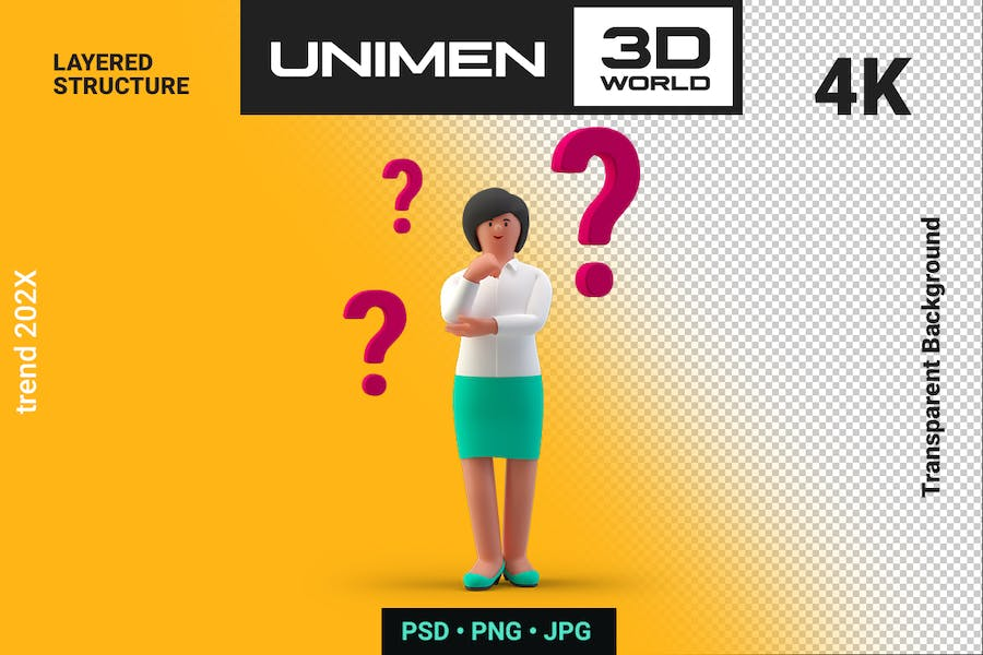 Businesswoman 3D Standing Thinking Question Marks