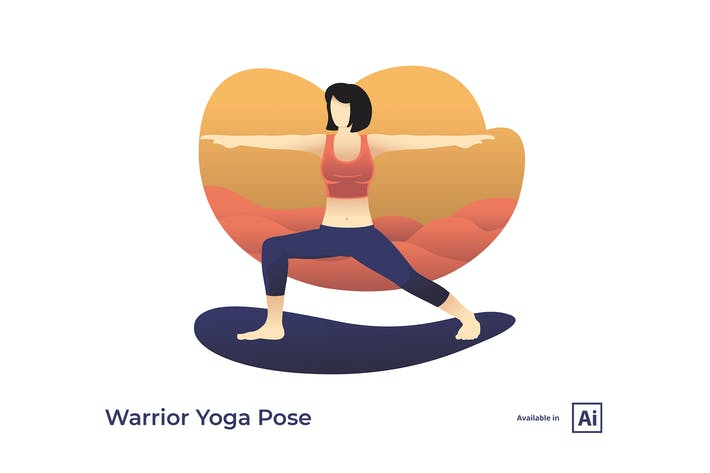 Thumbnail for Warrior 2 Yoga Pose Illustration