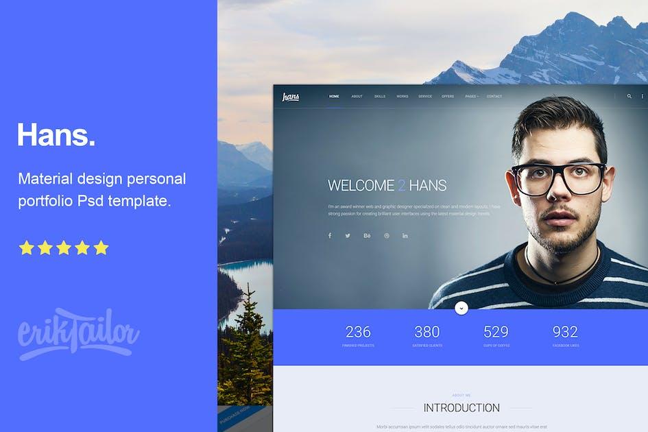Download Hans - Material Design Personal Portfolio by eriktailor