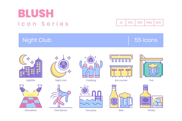 Thumbnail for 55 Night Club Line Icons