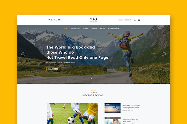 Thumbnail for Max Magazine - News & Blog HTML Template