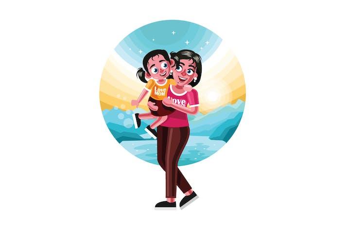 Thumbnail for Glückliche Mutter und Tochter Figur Illustration