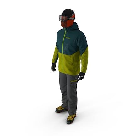 Escalador de roca de invierno equipo de senderismo postura de pie