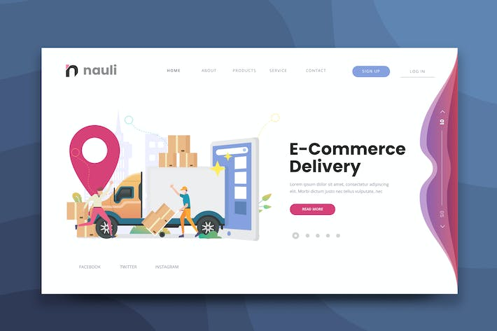 Thumbnail for E-commerce Delivery Web PSD and AI Vector Template