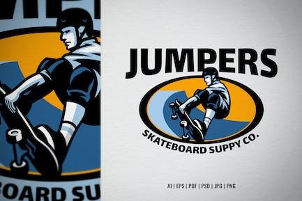 Skate shop logo with skater mascot