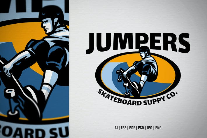 Logo skate shop avec mascotte patineuse