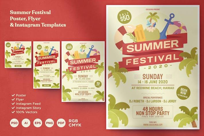 Thumbnail for Summer Festival Poster Flyer & Instagram Template
