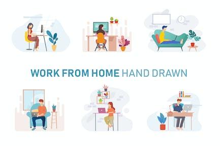Freelance Workspace Hand Drawn