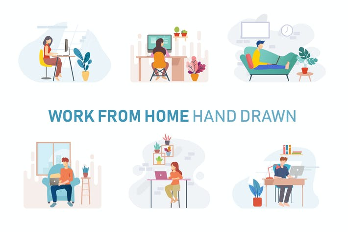 Thumbnail for Freelance Workspace Hand Drawn