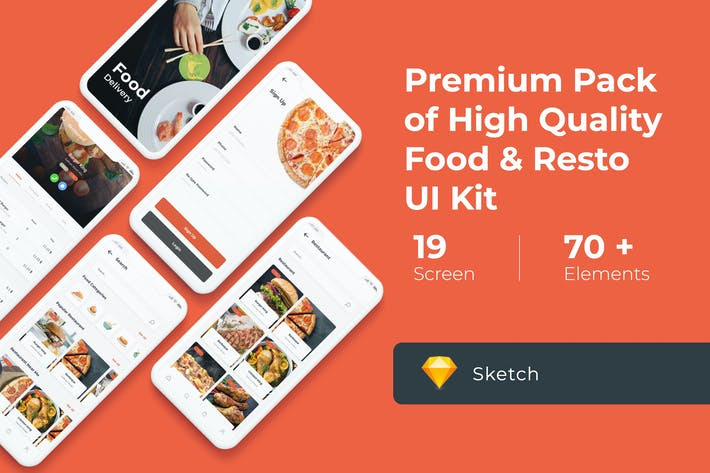 Thumbnail for Food Delivery UI KIT for Sketch