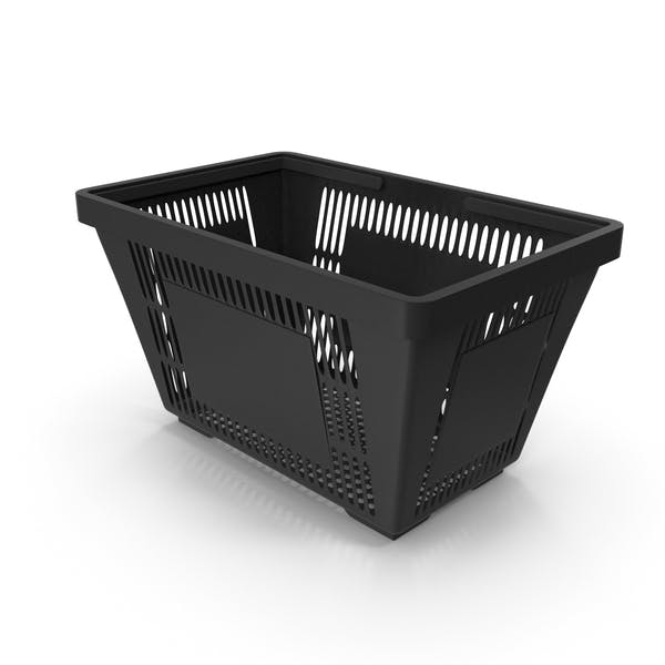 Black Shopping Basket with Plastic Handles