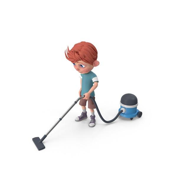 Thumbnail for Cartoon Boy Charlie Vacuuming