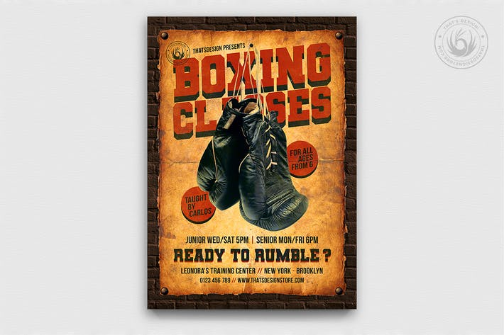 Thumbnail for Vintage Boxing Classes Flyer Template