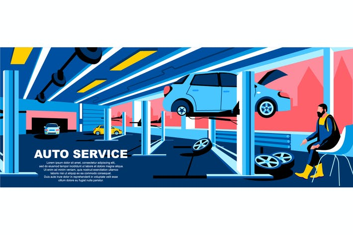 Thumbnail for Auto Service Flat Concept Landing Page Header