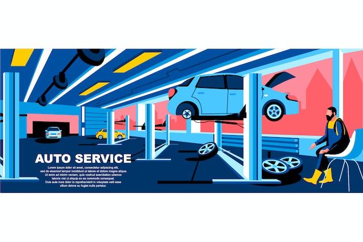 Thumbnail for Cabecera de página de inicio de concepto plano de servicio automático