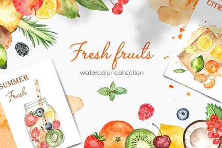 Watercolor fruits and berries Clipart