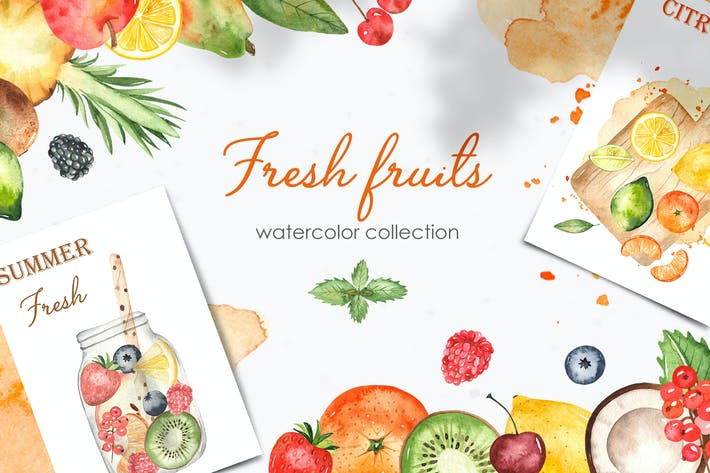 Thumbnail for Watercolor fruits and berries Clipart