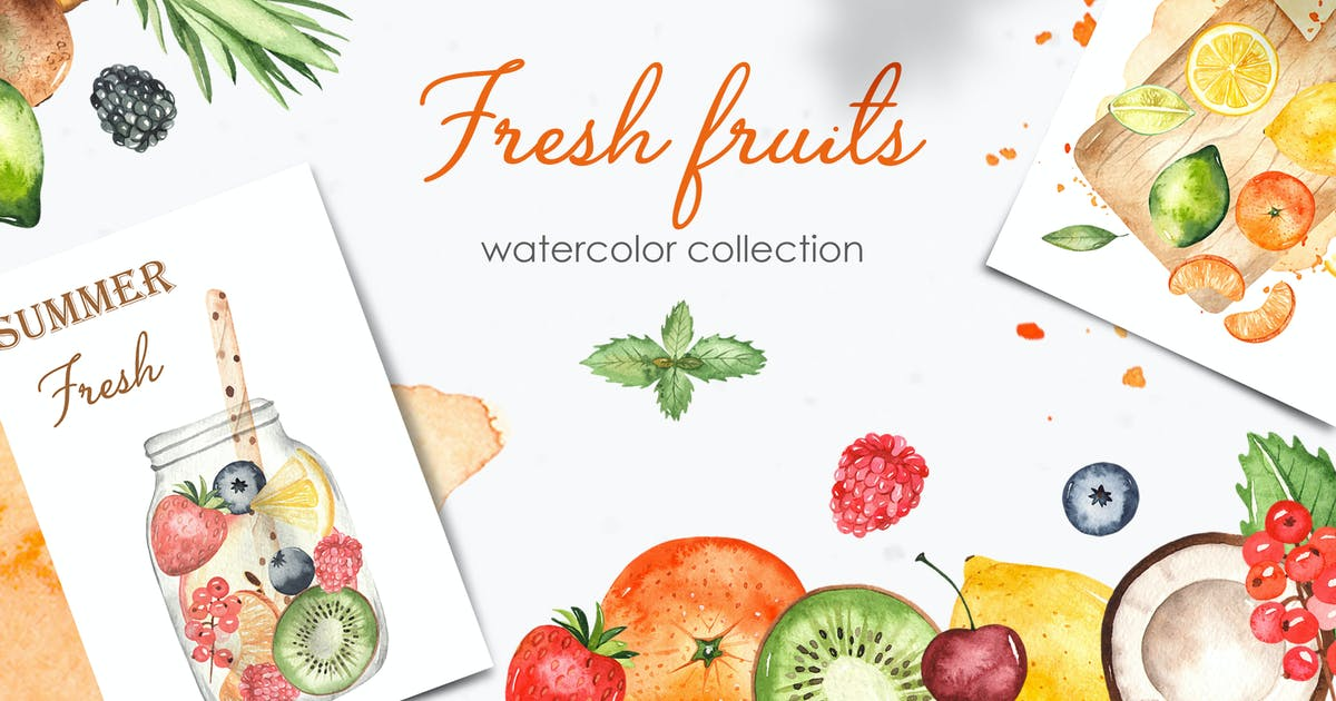 Download Watercolor fruits and berries Clipart by MarinaErmakova
