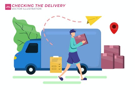 Checking The Delivery Flat Illustration