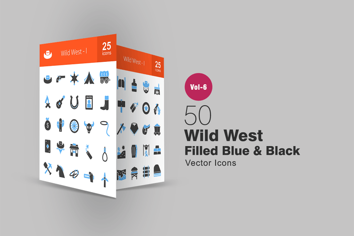 Thumbnail for 50 Wild West Blue & Black Icons