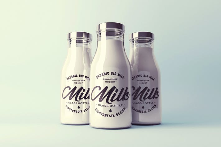 Cover Image For Realistic Milk Bottle Mock-Up Pack