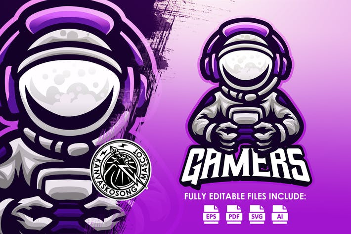 Astronaut Gaming Mascot Logo Template