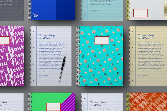 Thumbnail for School Notebook & Lined Paper Sheet Mockup Set