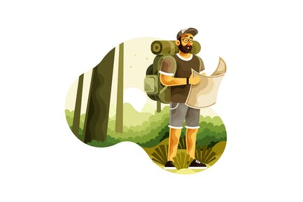 Backpacker with Map Search Directions Wilderness