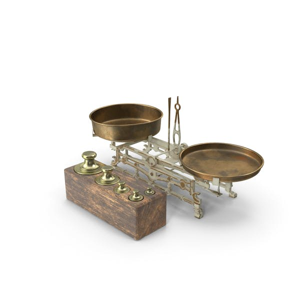 Antique Balance Scale with Weights Set