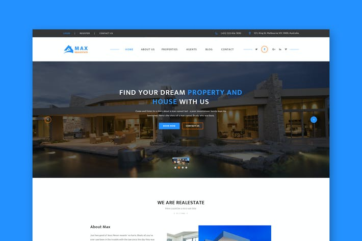 Thumbnail for Real Estate Website PSD Template