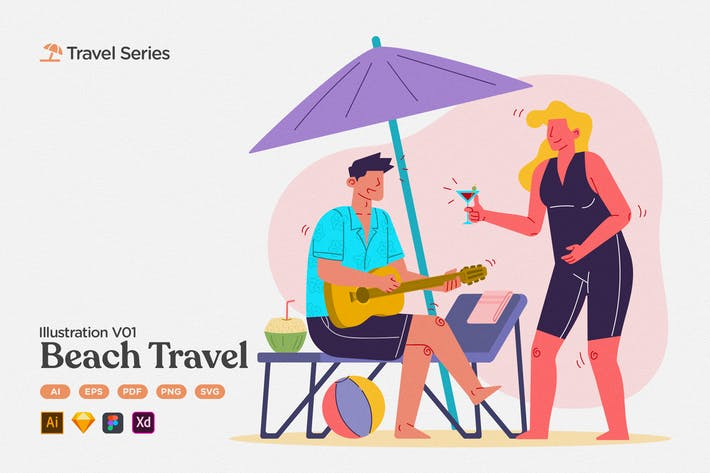 Thumbnail for Reise-Illustration V01 Sommerstrand