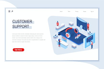 Customer Support Isometric Banner Flat Concept