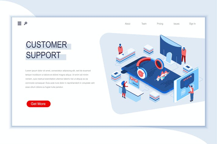 Thumbnail for Customer Support Isometric Banner Flat Concept