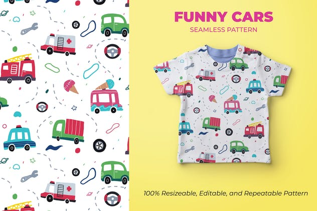 FUNNY CARS - SEAMLESS PATTERN
