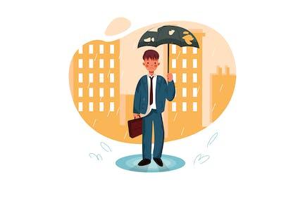 Unlucky man with bad mood under rain