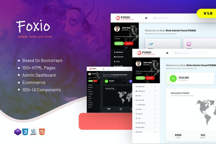 Thumbnail for Foxio - Responsive Admin Dashboard Template