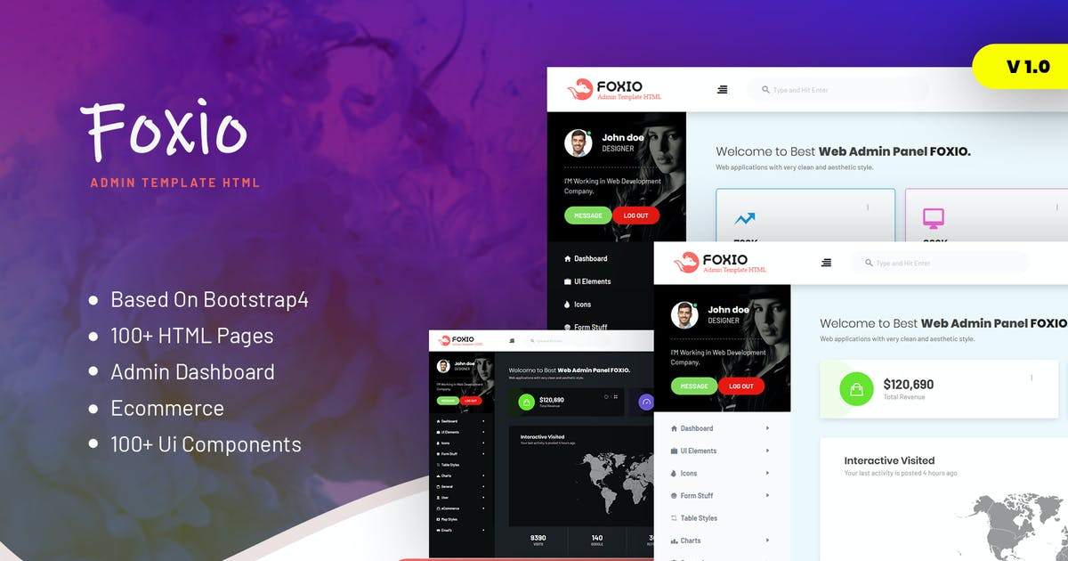 Download Foxio - Responsive Admin Dashboard Template by websroad
