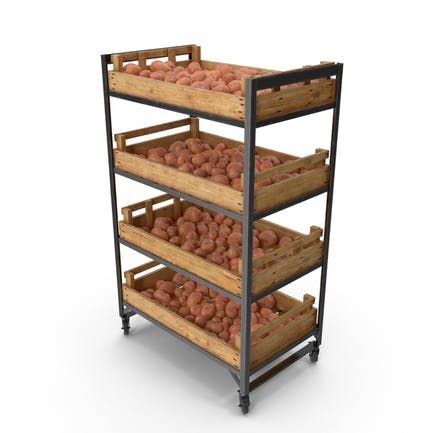 Retail Shelf With Red Potatoes
